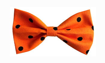 Bow Tie Formal Wear for Dogs �  Orange with Black Dots